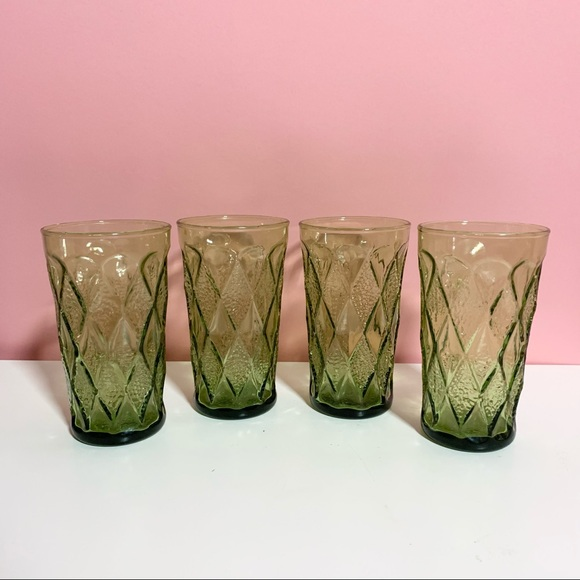 Vintage tall green glasses